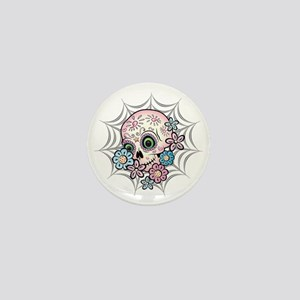 Sweet Sugar Skull  Flowers Mini Button