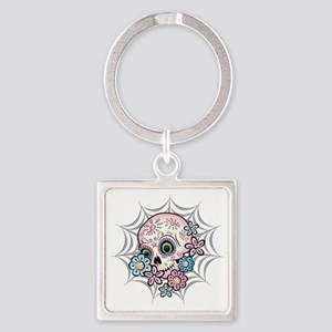 Sweet Sugar Skull  Flowers Square Keychain