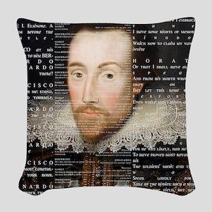 shakespeare hamlet shower curt Woven Throw Pillow