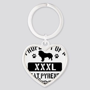 great pyrenese mom  property Heart Keychain