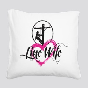 high voltage line wife front  Square Canvas Pillow