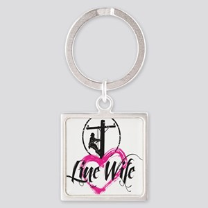 high voltage line wife front white Square Keychain