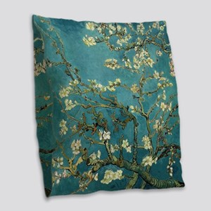 Almond Branches in Bloom 2sc Burlap Throw Pillow