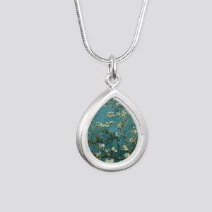 Almond Branches in Bloom Silver Teardrop Necklace