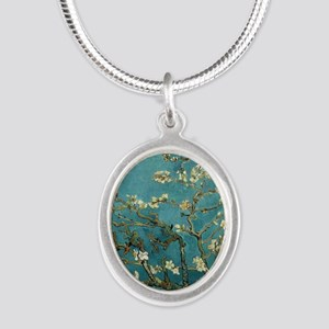 Almond Branches in Bloom 2sc Silver Oval Necklace