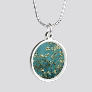 Almond Branches in Bloom 2sc Silver Round Necklace