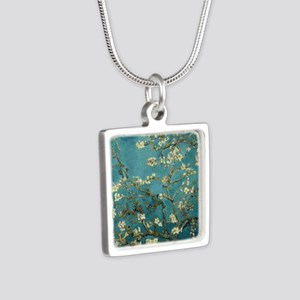 Almond Branches in Bloom 2 Silver Square Necklace