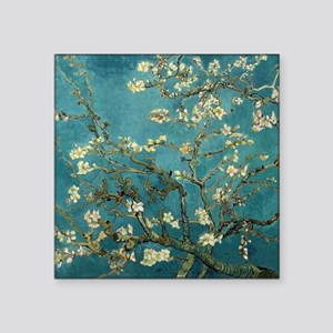 "Almond Branches in Bloom 2s Square Sticker 3"" x 3"""
