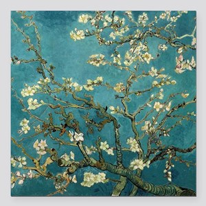 """Almond Branches in Bloom Square Car Magnet 3"""" x 3"""""""