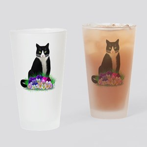Tuxedo Cat and Pansies Drinking Glass