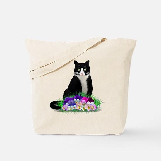 Tuxedo Cat and Pansies Tote Bag