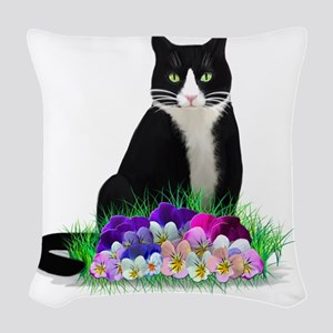 Tuxedo Cat and Pansies Woven Throw Pillow