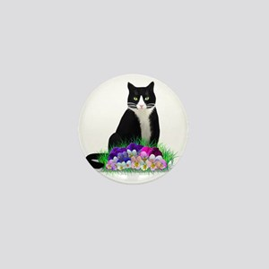 Tuxedo Cat and Pansies Mini Button