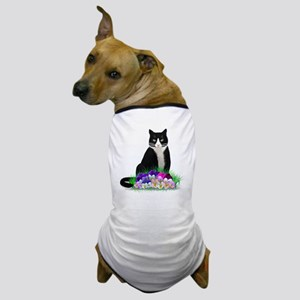 Tuxedo Cat and Pansies Dog T-Shirt