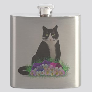 Tuxedo Cat and Pansies Flask