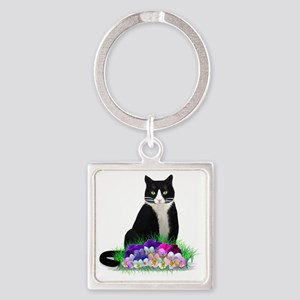 Tuxedo Cat and Pansies Square Keychain