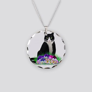Tuxedo Cat and Pansies Necklace Circle Charm