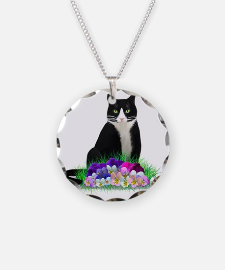 Tuxedo Cat and Pansies Necklace