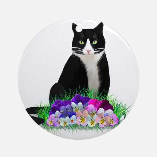 Tuxedo Cat and Pansies Round Ornament