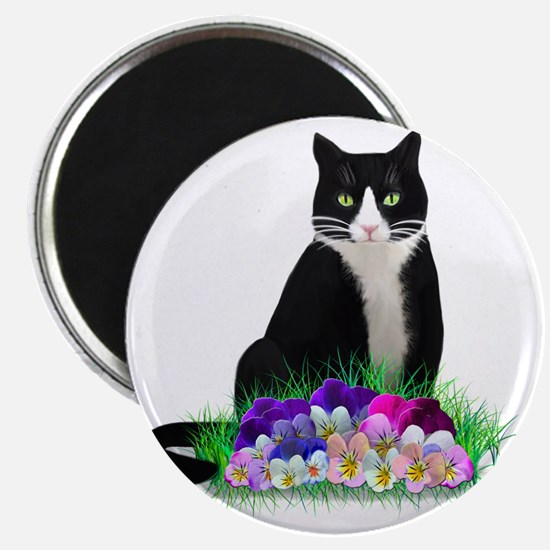 Tuxedo Cat and Pansies Magnet