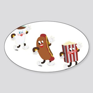 soda hotdog popcorn Sticker (Oval)