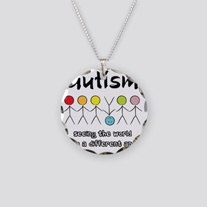 autism angle Necklace Circle Charm