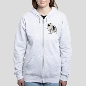 keeshondblackshirt Women's Zip Hoodie