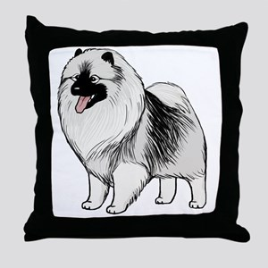 keeshondblackshirt Throw Pillow