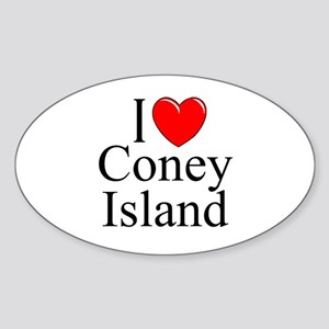 """I Love Coney Island"" Oval Sticker"