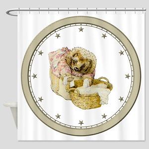 CLOCK Mrs, Tiggle-Winkle Silver Sta Shower Curtain