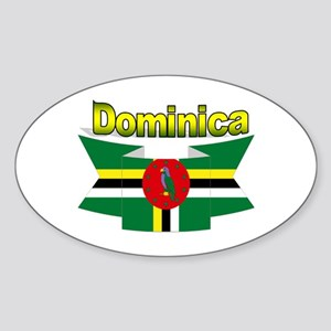 Dominica republic flag ribbon Oval Sticker