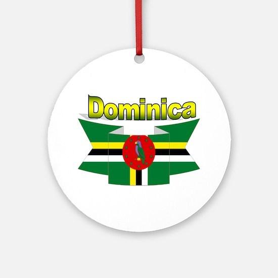 Dominica republic flag ribbon Ornament (Round)