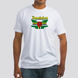 Dominica republic flag ribbon Fitted T-Shirt