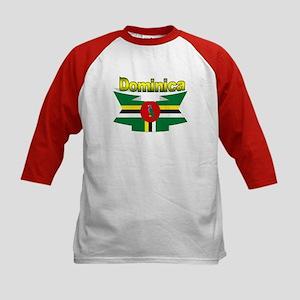 Dominica republic flag ribbon Kids Baseball Jersey