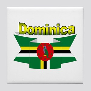 Dominica republic flag ribbon Tile Coaster