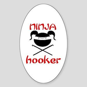 ninja hooker (crochet) Oval Sticker