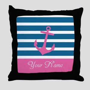 Pink Anchor On Stripe - Personalized Throw Pillow