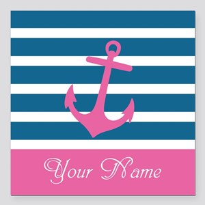Pink Anchor On Stripe - Personalized Square Car Ma