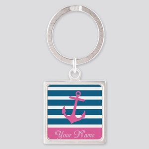 Pink Anchor On Stripe - Personalized Square Keycha