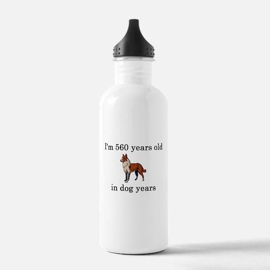 80 birthday dog years collie Water Bottle