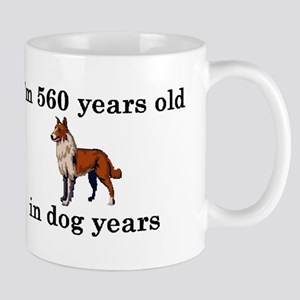 80 birthday dog years collie 2 Mugs