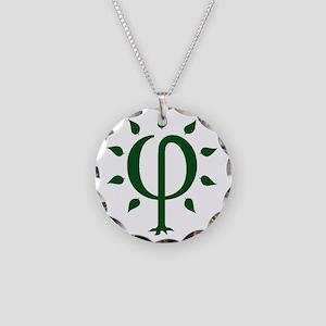 PhiTree_sm_darkgreen Necklace Circle Charm