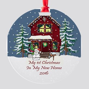 2016 My 1St Christmas House Round Ornament