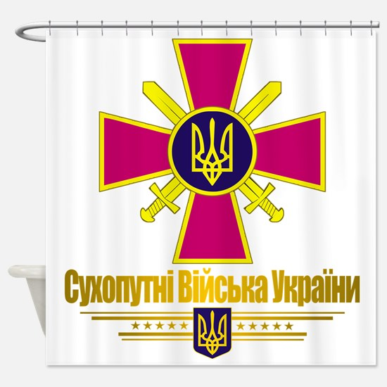 Ukranian Ground Forces (Flag 10)2 Shower Curtain