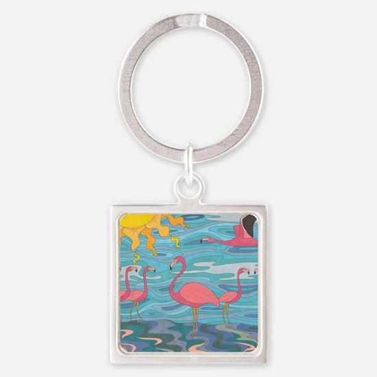 Seeing Pink Square Keychain