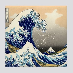 great wave shower Tile Coaster