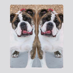 bulldog flip flops Throw Blanket