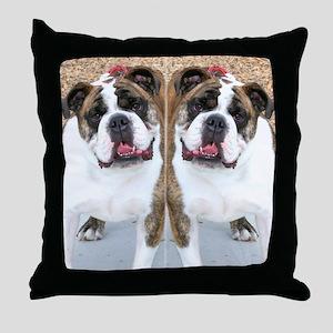 bulldog flip flops Throw Pillow