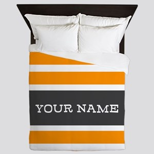 Orange and White Stripes Personalized Queen Duvet