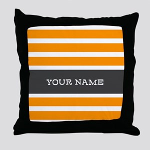 Orange and White Stripes Personalized Throw Pillow